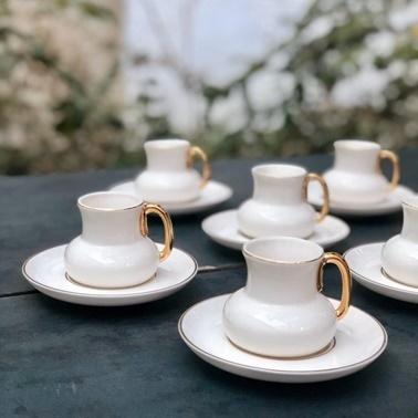 Acar Porselen 6lı Beyaz Kahve Fincan Takımı Beyaz